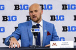 Minnesota quarterback Tanner Morgan talks to reporters during an NCAA college football news conference at the Big Ten Conference media days, Thursday, July 22, 2021, at Lucas Oil Stadium in Indianapolis. (AP Photo/Doug McSchooler)