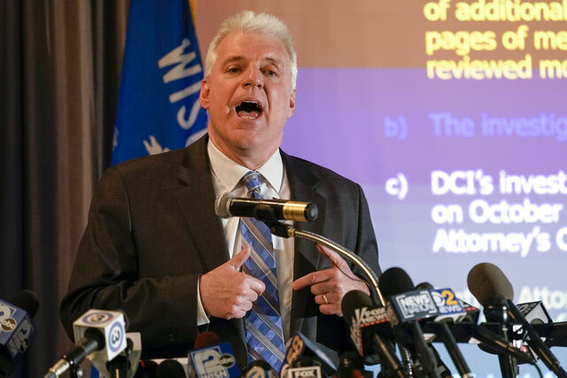 CORRECTS LAST NAME TO BLAKE FROM BLACK-Kenosha County District Attorney Michael Graveley speaks at a news conference Tuesday, Jan. 5, 2021, in Kenosha, Wis. Graveley announced that no charges will be filed against the white police officer that shot Jacob Blake, a Black man in August. (AP Photo/Morry Gash)