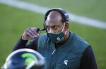 Michigan State coach Mel Tucker looks on during the first quarter of an NCAA college football game against Northwestern, Saturday, Nov. 28, 2020, in East Lansing, Mich. (AP Photo/Al Goldis)