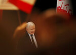 In this photo taken Thursday Sept. 26, 2019 Poland's ruling right-wing party leader Jaroslaw Kaczynski is seen attending a party convention in Plock, Poland, ahead of Sunday parliamentary election in which his Law and Justice party is hoping to win a second term in power. (AP Photo/Czarek Sokolowski)
