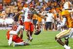 Bowling Green's Nate Needham (39) kicks a field goal as punter Matt Naranjo (96) holds during the first half of an NCAA college football game against Tennessee on Thursday, Sept. 2, 2021, in Knoxville, Tenn. (AP Photo/Wade Payne)