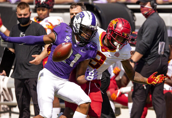 Iowa State wide receiver Joe Scates (9) is unable to catch a pass as TCU cornerback Noah Daniels (21) defends during an NCAA college football game on Saturday, Sept. 26, 2020 in Fort Worth, Texas. (AP Photo/Brandon Wade)