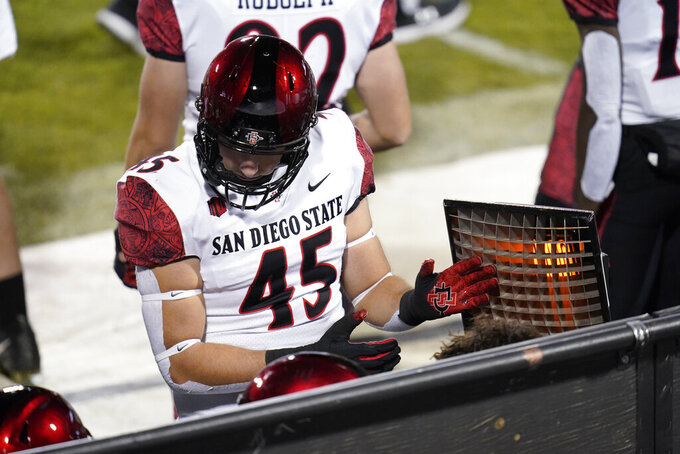 San Diego State defensive lineman Wyatt Draeger attempts to keep warm as temperatures drop in the second half of an NCAA college football game against Colorado, Saturday, Nov. 28, 2020, in Boulder, Colo. (AP Photo/David Zalubowski)