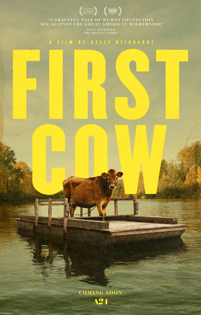 """This image released by A24 shows poster art for the film """"First Cow."""" Kelly Reichardt's film led all films in nominations for the 30th annual Gotham Awards with four nods, including best film, best screenplay, best actor for John Magaro and breakthrough actor for Orion Lee. (A24 via AP)"""