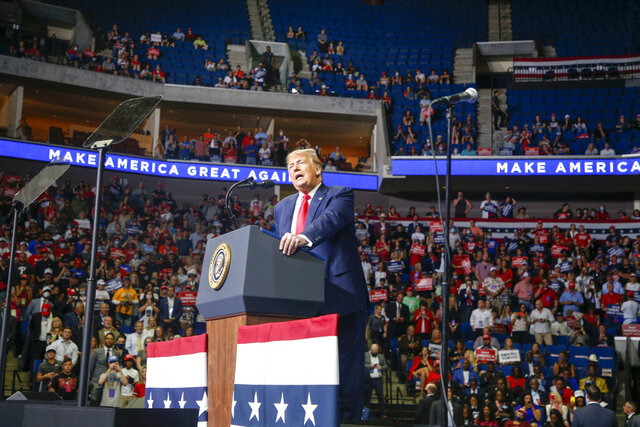 President Donald Trump speaks during his campaign rally at BOK Center in Tulsa, Okla., Saturday, June 20, 2020. (Ian Maule/Tulsa World via AP)