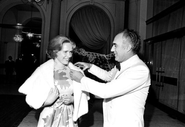 FILE - In this May 20, 1974 file photo, French actor Michel Piccoli talks with Swedish actress Liv Ullmann at the Cannes Film Festival, southern France. Michel Piccoli, a prolific screen star whose served as muse to filmmaker Luis Bunuel and was a leading man for Jean-Luc Godard, has died. He was 94. (AP Photo/Jean-Jacques Levy, File)