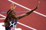 Quanera Hayes celebrates after winning the women's 400-meter run at the U.S. Olympic Track and Field Trials Sunday, June 20, 2021, in Eugene, Ore. (AP Photo/Chris Carlson)