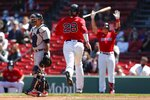 Boston Red Sox's J.D. Martinez (28) scores on a single by Rafael Devers during the third inning of a baseball game against the Detroit Tigers, Thursday, May 6, 2021, in Boston. (AP Photo/Michael Dwyer)