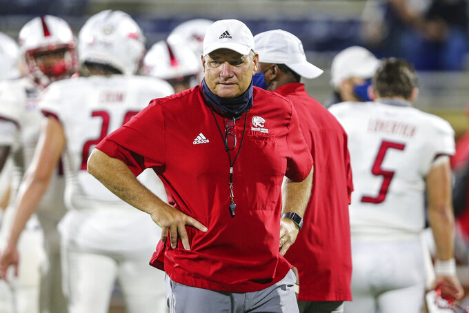 South Alabama head coach Steve Campbell watches warm-ups before an NCAA football game against Georgia Southern on Thursday, Oct. 29, 2020,  in Statesboro, Ga. South Alabama remains mathematically alive in the Sun Belt Conference's West Division and would have the upper hand based on head-to-head results if it could stage an upset against Louisiana-Lafayette. (AP Photo/Gary McCullough, File)