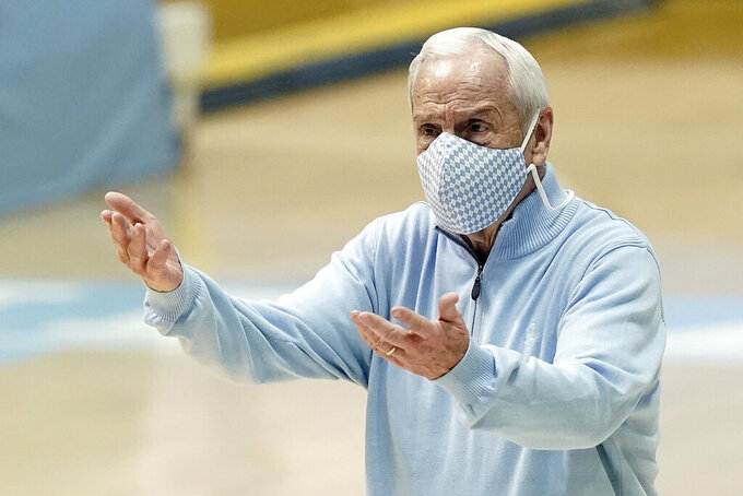 North Carolina head coach Roy Williams reacts during the second half of an NCAA college basketball game against Louisville in Chapel Hill, N.C., Saturday, Feb. 20, 2021. (AP Photo/Gerry Broome)