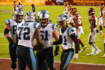 Carolina Panthers wide receiver Robby Anderson (11) celebrates his touchdown against the Washington Football Team with his teammates during the first half of an NFL football game, Sunday, Dec. 27, 2020, in Landover, Md. (AP Photo/Susan Walsh)