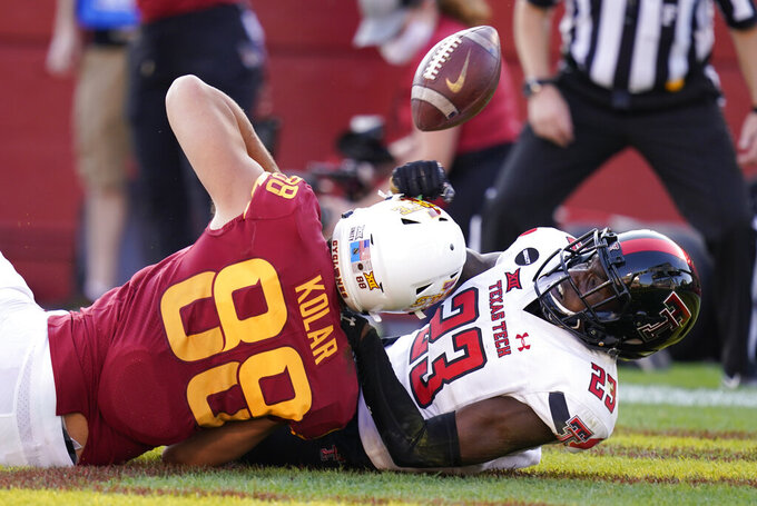 Texas Tech defensive back DaMarcus Fields (23) breaks up a pass intended for Iowa State tight end Charlie Kolar (88) during the second half of an NCAA college football game, Saturday, Oct. 10, 2020, in Ames, Iowa. Iowa State won 31-15. (AP Photo/Charlie Neibergall)