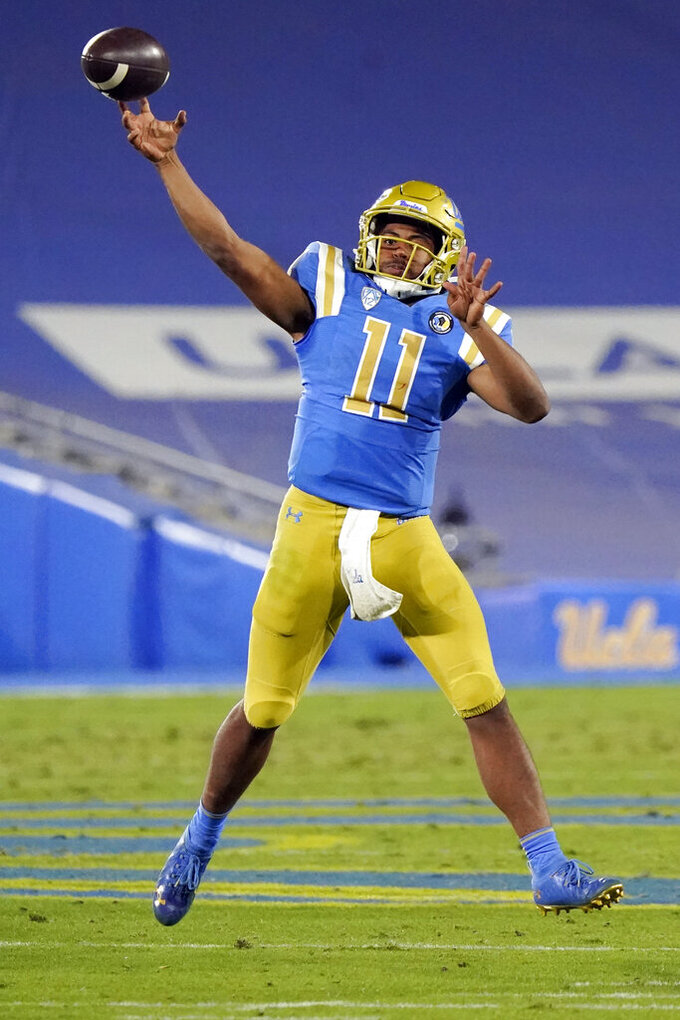 UCLA quarterback Chase Griffin throws against Arizona during the second half of an NCAA college football game Saturday, Nov. 28, 2020, in Pasadena, Calif. (AP Photo/Marcio Jose Sanchez)