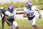 Minnesota Vikings free safety Harrison Smith (22) and safety Myles Dorn take part in a defensive drill during the NFL football team's training camp, Friday, Aug. 6, 2021, in Eagan, Minn. (AP Photo/Jim Mone)