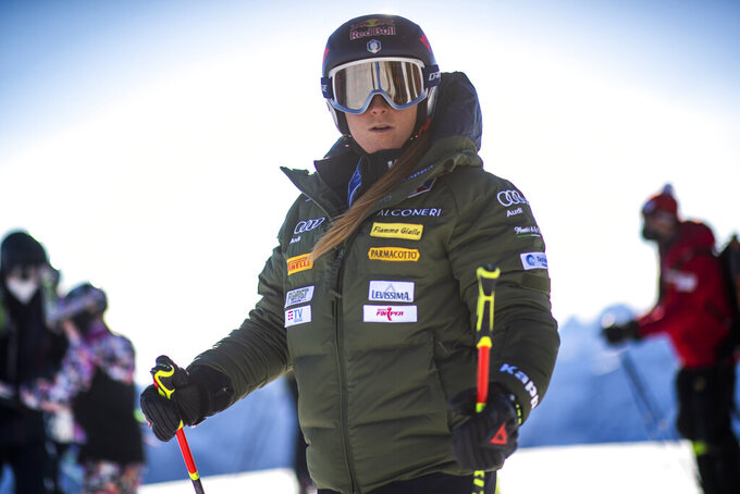 Sofia Goggia of Italy waits for the start of the first training prior the FIS Alpine Ski World Cup season in Soelden, Austria, Friday, Oct. 22, 2021. The Alpine Skiing World Cup season 2021/22 will be opened this weekend in Soelden, the traditional start of the FIS Ski World Cup. (Gian Ehrenzeller/Keystone via AP)