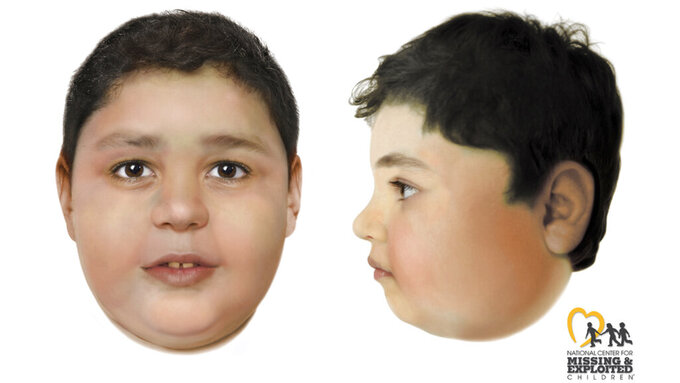 FILE - These artist's renderings created by the National Center for Missing and Exploited Children and distributed Thursday, June 3, 2021, by the FBI and Las Vegas Metropolitan Police Department depict a slain boy believed to be between the ages of 8 and 10 whose body was found Friday, May 28, 2021, off a hiking trail between Las Vegas and rural Pahrump, Nev. Authorities have identified the child as 7-year-old Liam Husted, from San Jose, California. Police said Monday, June 7, 2021, that his mother, Samantha Moreno Rodriguez, 35, is the suspect in his killing. (Las Vegas Metropolitan Police Department via AP,File)