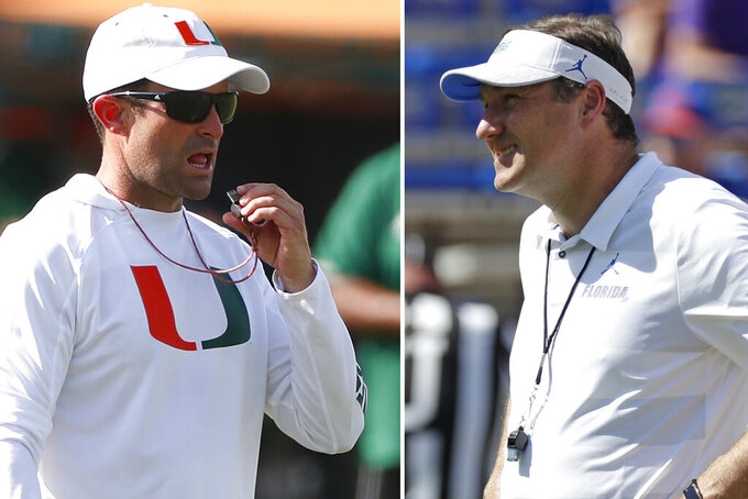 FILE - At left, in an Aug. 6, 2019, file photo, Miami head football coach Manny Diaz prepares to blow his whistle during an NCAA college football practice at the University of Miami in Coral Gables, Fla. At right, in an Oct. 6, 2018, file photo, Florida head coach Dan Mullen watches players warm up before an NCAA college football game against LSU in Gainesville, Fla. Florida and Miami have the college football stage to themselves for 3 ½ hours Saturday, a new chapter in their once-heated and forever-storied rivalry.(AP Photo/File)