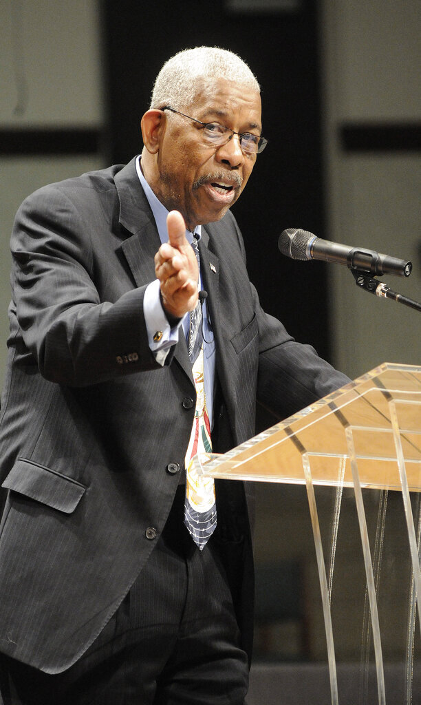 """1961 Freedom Rider Ernest """"Rip"""" Patton talks during a keynote address at the Martin Luther King Jr. Celebration in Sevierville, Tenn. Monday, Jan. 16, 2012. Patton, a member of the Nashville Freedom Riders and civil rights leader, has died, according to the Freedom Rides Museum. He was 81. (AP Photo/The Mountain Press, Curt Habraken)"""