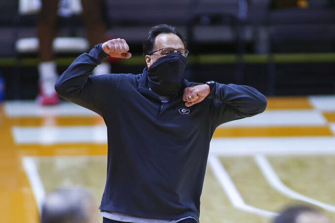 Georgia coach Tom Crean watches during the team's NCAA college basketball game against Tennessee on Wednesday, Feb. 10, 2021, in Knoxville, Tenn. (Randy Sartin, Pool photo via AP)