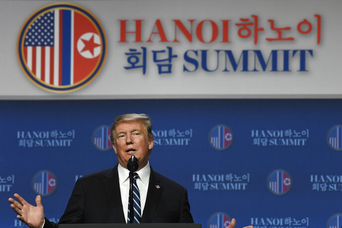 In this Feb. 29, 2019, photo, President Donald Trump speaks during a news conference in Hanoi, following his summit with North Korean leader Kim Jong Un.(AP Photo/Susan Walsh)