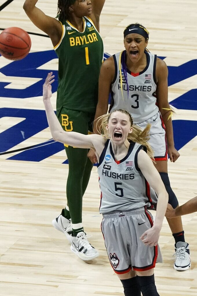 UConn's Paige Bueckers celebrates after an NCAA college basketball game against Baylor in the Elite Eight round of the Women's NCAA tournament Monday, March 29, 2021, at the Alamodome in San Antonio. UConn won 69-67 to advance to the Final Four. (AP Photo/Morry Gash)