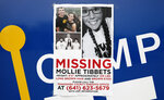 A poster for missing University of Iowa student Mollie Tibbetts hangs on the front door of a local business, Tuesday, Aug. 21, 2018, in Brooklyn, Iowa. Police say a body believed to be that of 20-year-old college student Mollie Tibbetts has been discovered in a rural area near where she went missing last month.Tibbetts was reported missing from her hometown in the eastern Iowa city of Brooklyn in July 2018. (AP Photo/Charlie Neibergall)