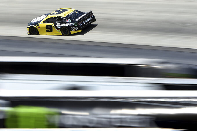Chase Elliott (9) competes during the NASCAR Cup Series auto race, Monday, May 6, 2019, at Dover International Speedway in Dover, Del. (AP Photo/Will Newton)