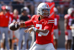 Ohio State quarterback C.J. Stroud drops back to pass against Tulsa during the first half of an NCAA college football game Saturday, Sept. 18, 2021, in Columbus, Ohio. (AP Photo/Jay LaPrete)