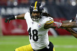 Pittsburgh Steelers outside linebacker Bud Dupree (48) runs a play against the Arizona Cardinals prior to an NFL football game, Sunday, Dec. 8, 2019, in Glendale, Ariz. (AP Photo/Ross D. Franklin)