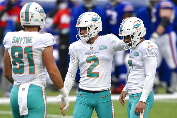 Miami Dolphins kicker Jason Sanders (7) reacts alongside punter Matt Haack (2) after kicking his second field goal in the first half of an NFL football game against the Buffalo Bills, Sunday, Jan. 3, 2021, in Orchard Park, N.Y. (AP Photo/Adrian Kraus)