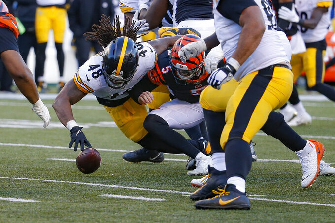Pittsburgh Steelers outside linebacker Bud Dupree (48) forces a fumble the fumble off Cincinnati Bengals quarterback Ryan Finley (5) before recovering the ball for a turnover during the second half an NFL football game, Sunday, Nov. 24, 2019, in Cincinnati. (AP Photo/Frank Victores)