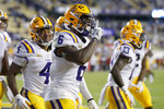LSU wide receiver Terrace Marshall Jr. (6) reacts after scoring a touchdown against South Carolina during the first half of an NCAA college football game in Baton Rouge, La. Saturday, Oct. 24, 2020. (AP Photo/Brett Duke)