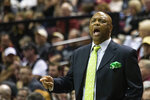 Florida State head coach Leonard Hamilton reacts the first half of an NCAA college basketball game against Notre Dame in Tallahassee, Fla., Saturday, Jan. 25, 2020. (AP Photo/Mark Wallheiser)
