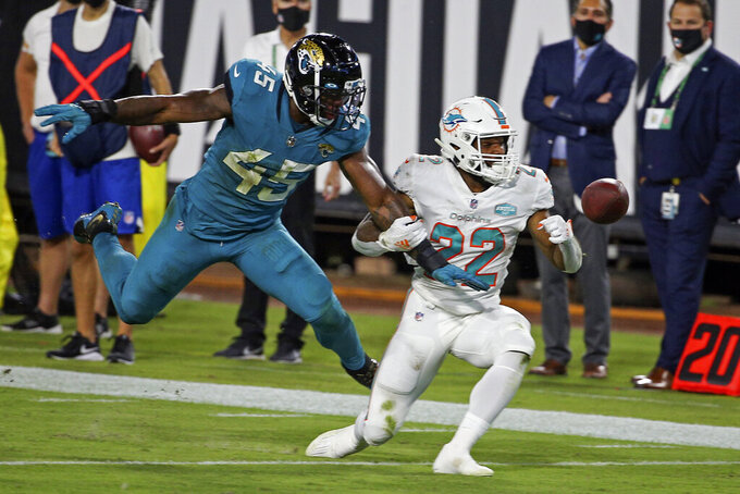 Jacksonville Jaguars defensive end K'Lavon Chaisson (45) is called for pass interference as he grabs Miami Dolphins running back Matt Brenda (22) during the first half of an NFL football game, Thursday, Sept. 24, 2020, in Jacksonville, Fla. (AP Photo/Stephen B. Morton)