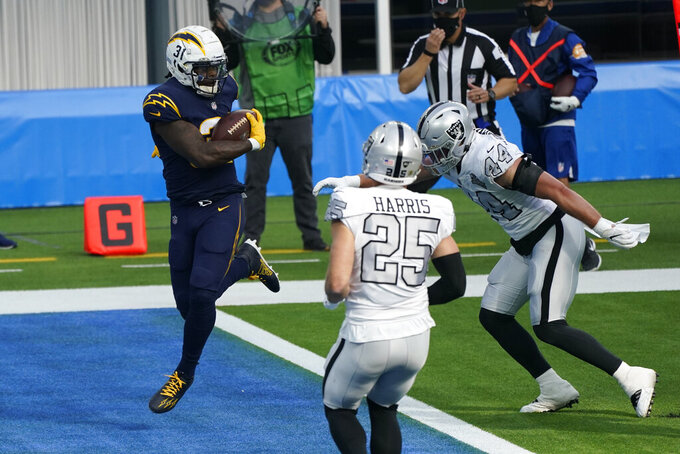 Los Angeles Chargers running back Kalen Ballage, left, scores a touchdown during the first half of an NFL football game against the Las Vegas Raiders, Sunday, Nov. 8, 2020, in Inglewood, Calif. (AP Photo/Ashley Landis)