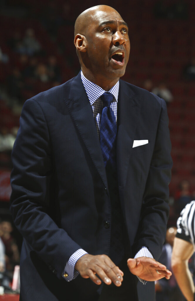 Wake Forest coach Danny Manning looks up during the first half of the team's NCAA college basketball game against Florida State in Tallahassee, Fla., Wednesday, Feb. 13, 2019. (AP Photo/Phil Sears)