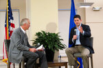 House Speaker Paul Ryan, R-Wis., takes questions from Wispolitics.com President Jeff Mayers on Friday, Jan. 12, 2018, in Milwaukee. The Q&A session was about the country's new tax law, but Ryan addressed obscene comments about immigrants made by President Donald Trump, calling the remarks