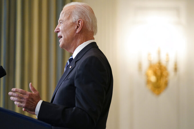 President Joe Biden speaks in the State Dining Room at the White House, Thursday, Sept. 9, 2021, in Washington. Biden is announcing sweeping new federal vaccine requirements affecting as many as 100 million Americans in an all-out effort to increase COVID-19 vaccinations and curb the surging delta variant. (AP Photo/Andrew Harnik)