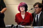 Devon Erickson appears in court at the Douglas County Courthouse on Wednesday, May 15, 2019, in Castle Rock, Colo. Erickson is one of two students suspected of shooting several classmates in their Colorado charter school. (Joe Amon/The Denver Post via AP, Pool)