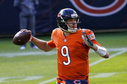 Chicago Bears quarterback Nick Foles (9) throws during the first half of an NFL football game against the Indianapolis Colts, Sunday, Oct. 4, 2020, in Chicago. (AP Photo/Charles Rex Arbogast)