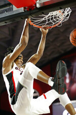 Georgia guard Jordan Harris dunks against Auburn during an NCAA college basketball game Wednesday, Feb. 27, 2019, in Athens, Ga. (Joshua L. Jones/Athens Banner-Herald via AP)