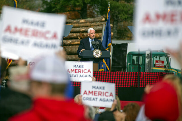 Vice President Mike Pence speaks at a campaign rally, Monday, Oct. 19, 2020, at Dysarts in Hermon, Maine. (Linda Coan O'Kresik/The Bangor Daily News via AP)