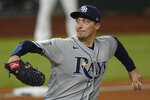 Tampa Bay Rays starting pitcher Blake Snell throws against the Los Angeles Dodgers during the first inning in Game 2 of the baseball World Series Wednesday, Oct. 21, 2020, in Arlington, Texas. (AP Photo/Eric Gay)