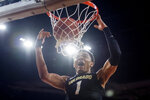 Colorado guard Tyler Bey dunks during the second half of the team's NCAA college basketball game against Southern California on Saturday, Feb. 1, 2020 in Los Angeles. (AP Photo/Kyusung Gong)
