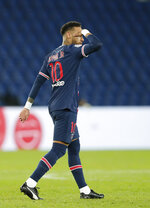 PSG's Neymar after scoring his side's third goal during the French League One soccer match between Paris Saint-Germain and Angers at the Parc des Princes in Paris, France, Friday, Oct. 2, 2020. (AP Photo/Francois Mori)