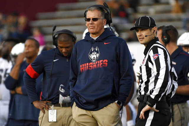 FILE - In this Oct. 26, 2019, file photo, Connecticut head coach Randy Edsall during the first half of an NCAA college football game in Amherst, Mass.  UConn has canceled its 2020-2021 football season, becoming the first FBS program to suspend football because of the coronavirus pandemic. (AP Photo/Jessica Hill, File)