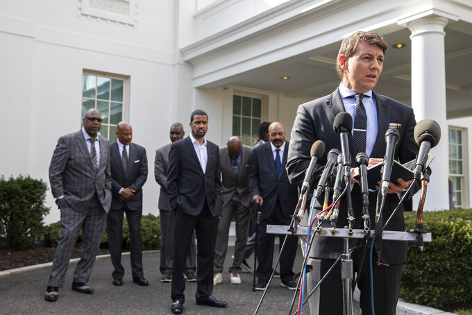 Deputy White House press secretary Hogan Gidley speaks after walking out of the West Wing of White House, Tuesday, Feb. 18, 2020, in Washington. He announced that President Donald Trump has granted a full pardon to Edward DeBartolo Jr., former owner of the San Francisco 49ers NFL football team convicted in gambling fraud scandal. (AP Photo/Alex Brandon)