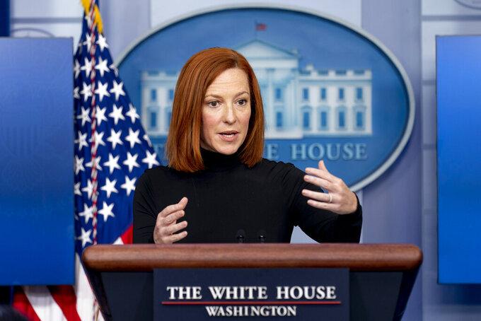 White House press secretary Jen Psaki speaks at a press briefing at the White House, Friday, April 9, 2021, in Washington. (AP Photo/Andrew Harnik)