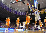 LSU guard Skylar Mays (4) puts the ball up for two points in front of Tennessee forward Kyle Alexander (11) in the first half of an NCAA college basketball game, Saturday, Feb. 23, 2019, in Baton Rouge, La. (AP Photo/Bill Feig)
