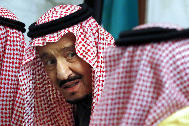 FILE - In this Dec.10, 2019, file photo, Saudi King Salman talks during the 40th Gulf Cooperation Council Summit in Riyadh, Saudi Arabia. Saudi Arabia's King Salman was discharged from a hospital in the capital, Riyadh, after more than a week following surgery to remove his gall bladder, the Royal Court said in a statement late Thursday, July 30, 2020. (AP Photo/Amr Nabil, File)